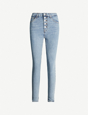 TOPSHOP Jamie button-fly skinny high-rise jeans