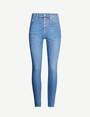 TOPSHOP Button fly Jamie high-rise super-skinny jeans