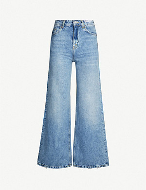 TOPSHOP Ripped wide-leg high-rise jeans
