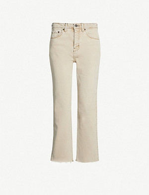 TOPSHOP Faded cropped high-rise jeans