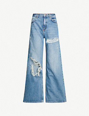 TOPSHOP Ripped high-rise wide-leg jeans