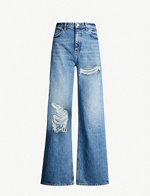 TOPSHOP High-rise faded ripped wide-leg jeans