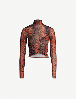 TOPSHOP Snake-print stretch-jersey crop top