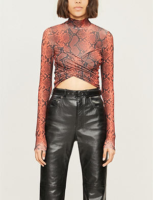 TOPSHOP Snake-print stretch-jersey crop top 98b12779c