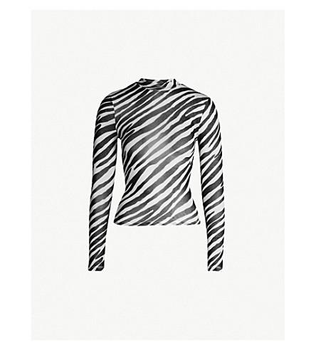 TOPSHOP Zebra-print jersey top (Black f64c0148f
