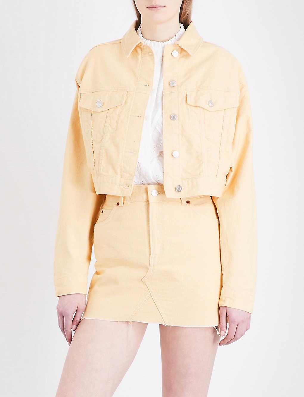 24aa4f2bf00cb TOPSHOP - MOTO cropped denim jacket | Selfridges.com