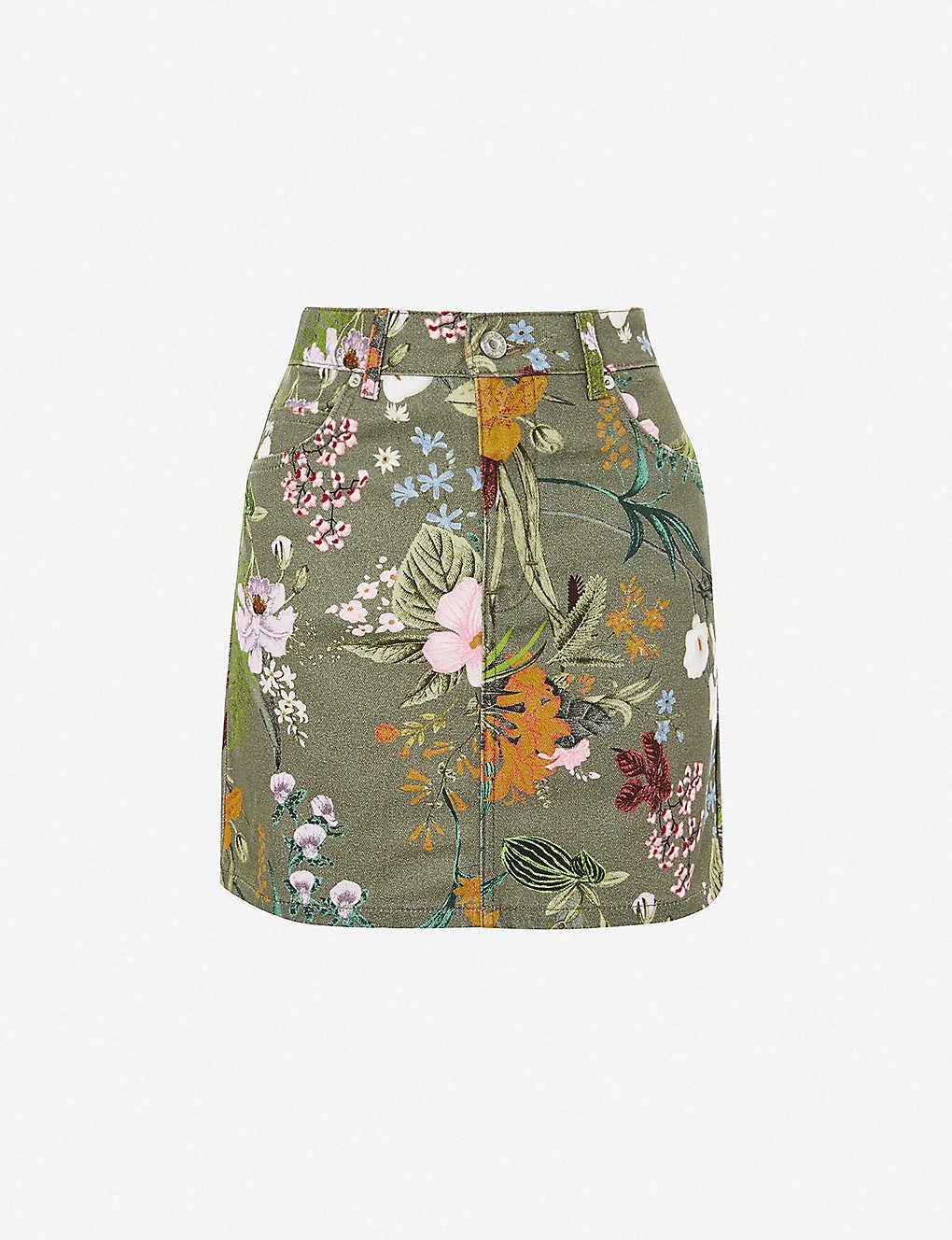 43c4476975 TOPSHOP - Floral-print denim mini skirt | Selfridges.com