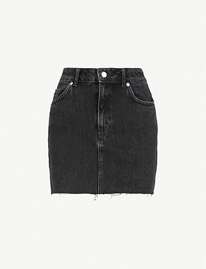 TOPSHOP Raw hem denim mini skirt