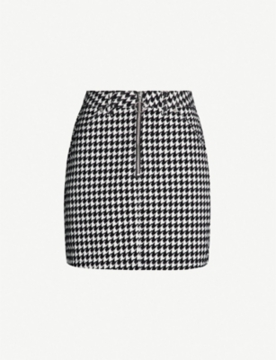 TOPSHOP Houndstooth flocked bodycon cotton mini skirt