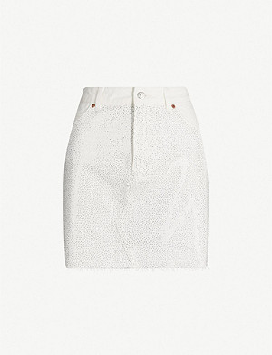 TOPSHOP Gemstone-embellished denim mini skirt