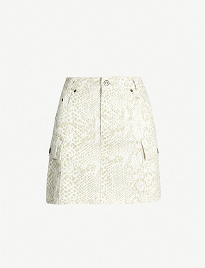 TOPSHOP Snake-print high-waist denim skirt