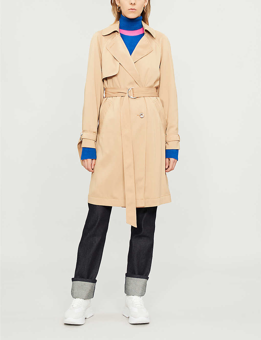 TOPSHOP: Double-breasted woven trench coat