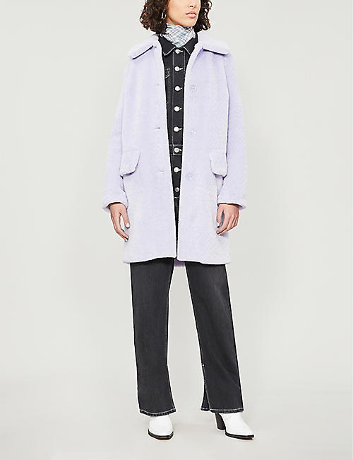 TOPSHOP Wendy single-breasted faux-fur coat