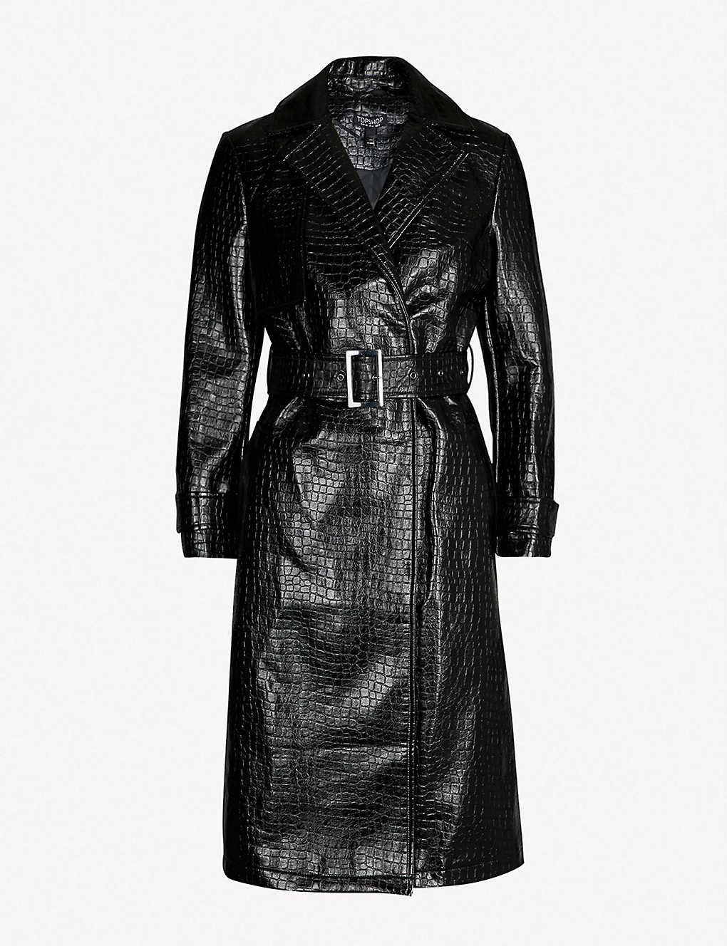 526ed4935 TOPSHOP - Tess croc-embossed coat | Selfridges.com