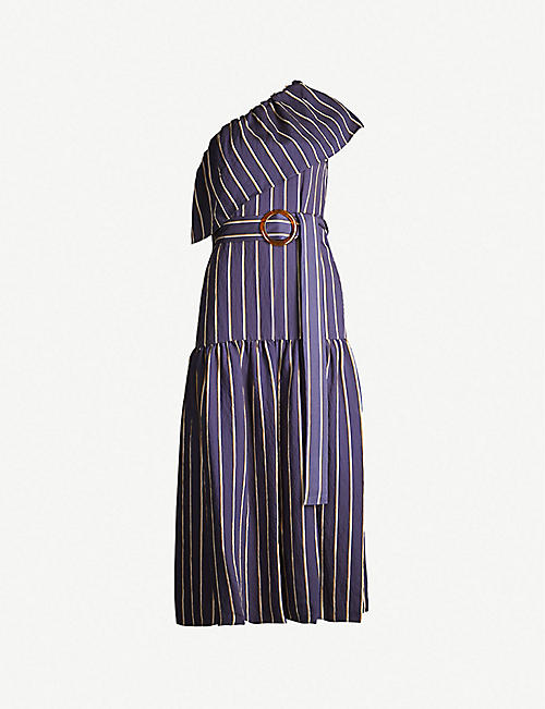 f6e493905873a TOPSHOP Sicily stripe one-shoulder woven midi dress