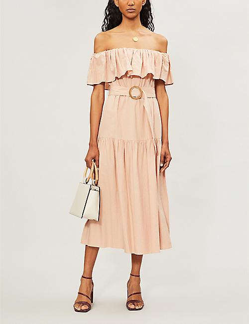26584f731688 TOPSHOP Off-shoulder ruffled-trim linen-blend midi dress
