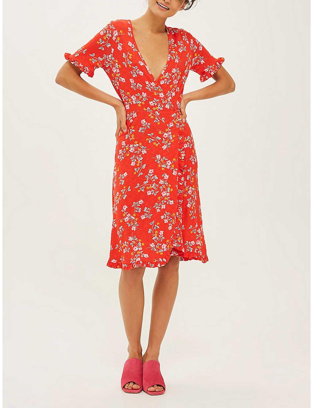 589313f4d3 TOPSHOP - Ditsy floral-print wrap dress   Selfridges.com