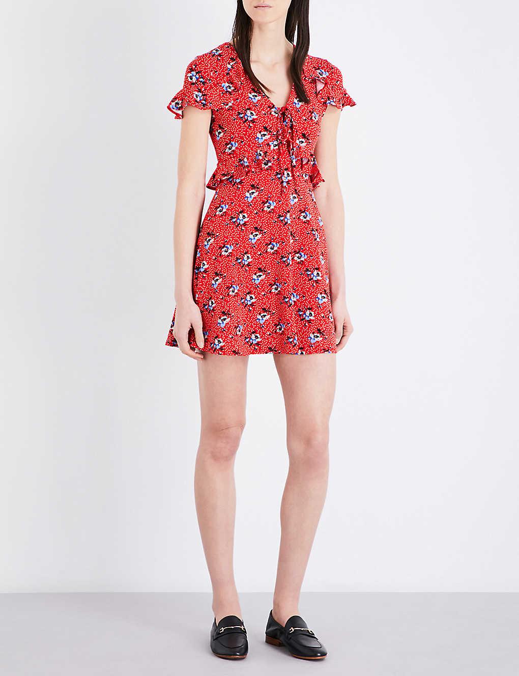 52a4aeac83430 TOPSHOP - Red Spot Floral stretch-crepe tea dress | Selfridges.com