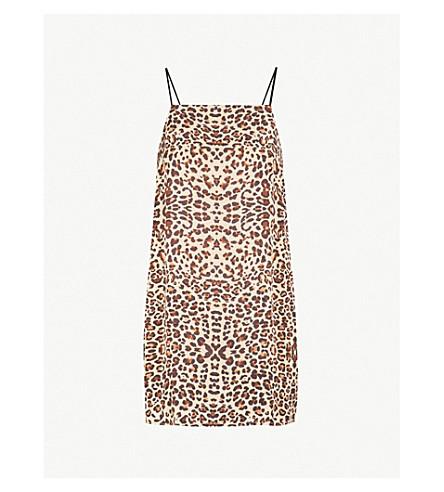 TOPSHOP - Leopard-print satin mini slip dress  8b99166ce