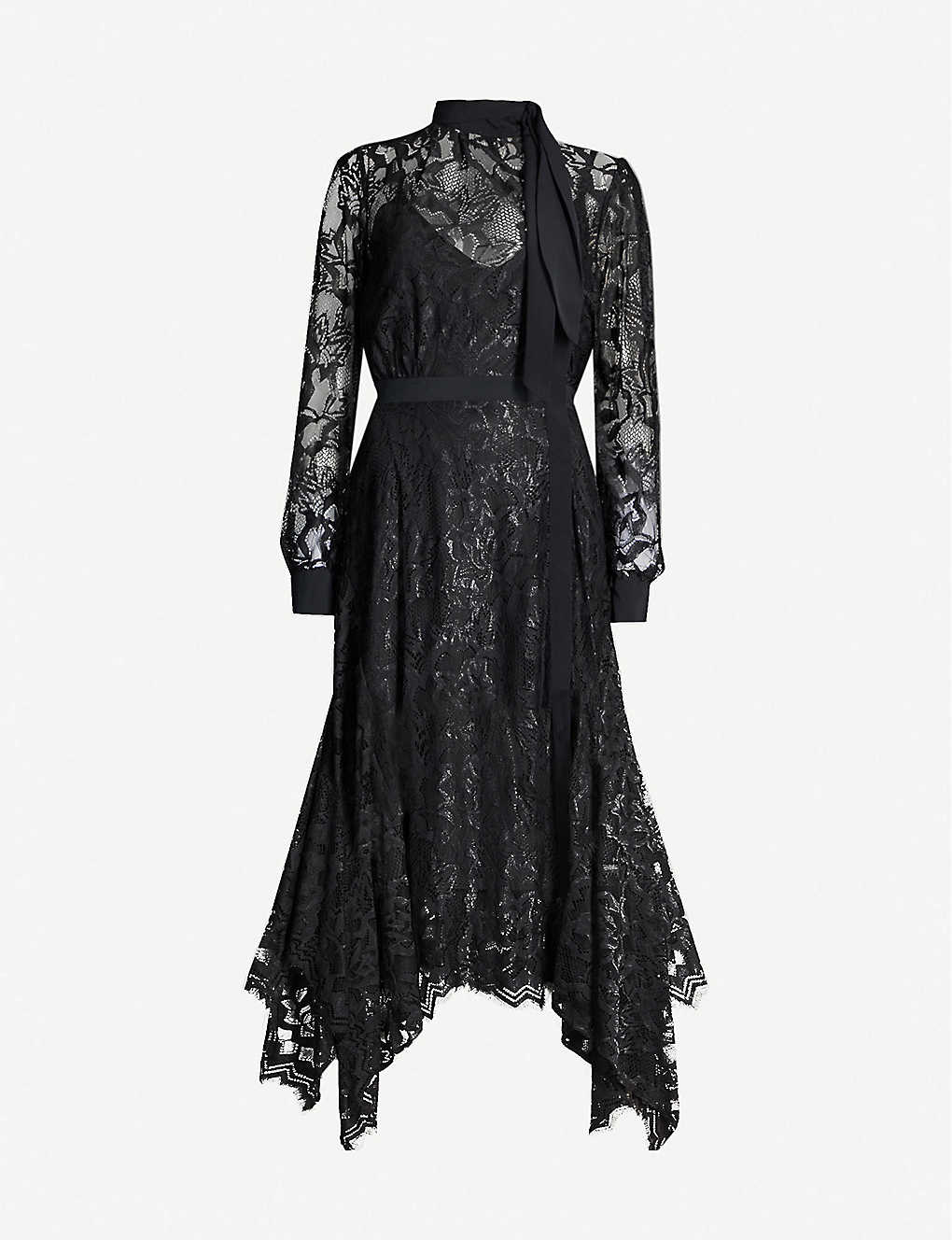 TOPSHOP: Idol asymmetric floral-lace midi dress