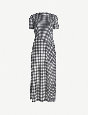 TOPSHOP Contrast-checked crepe dress