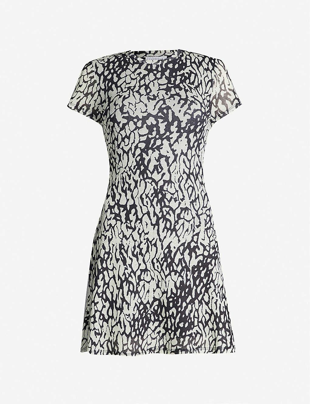504d7580f7fb TOPSHOP - Animal-print mesh dress   Selfridges.com