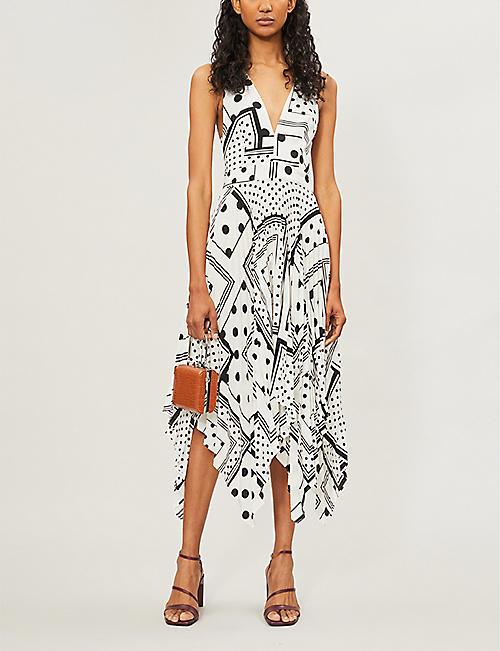 84c17fa5ccc TOPSHOP Graphic-pattern sleeveless V-neck crepe midi dress · Quick Shop