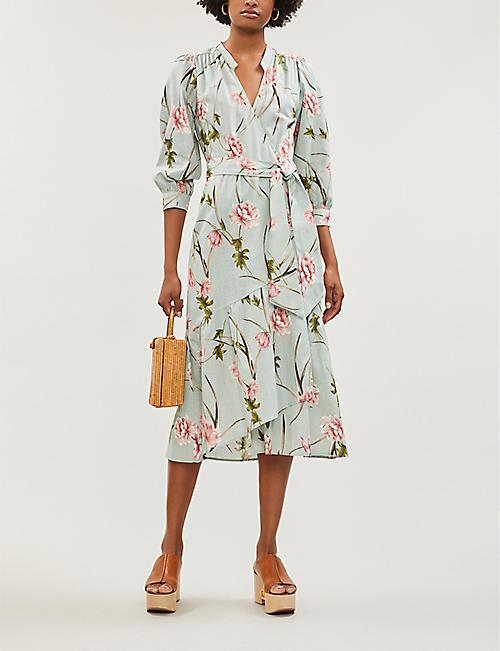 be76096fb1d31 TOPSHOP Floral-pattern wrapover linen midi dress