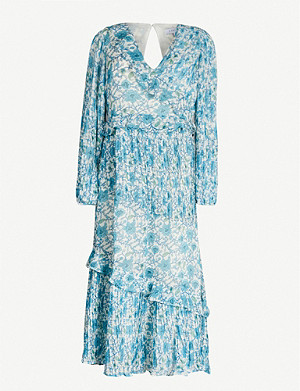 TOPSHOP Floral-print ruffled-trim chiffon maxi dress