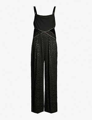 TOPSHOP Boutique cutout-side embellished satin-jacquard jumpsuit