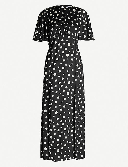 TOPSHOP Austin polka dot-print crepe de chine midi dress