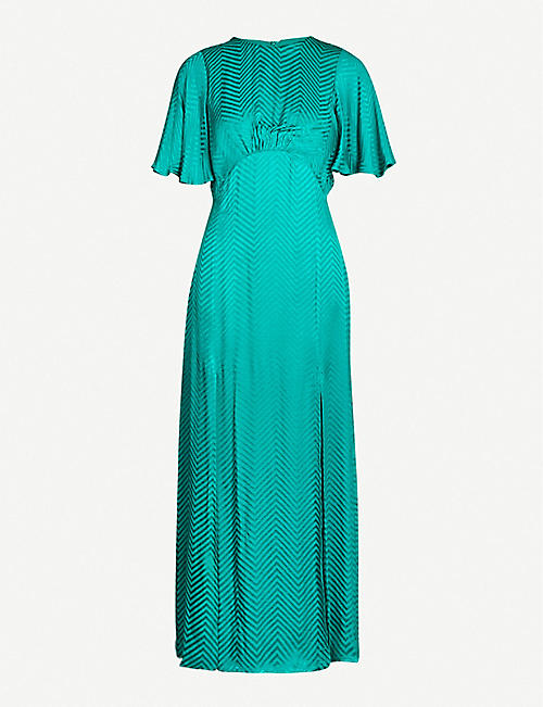 TOPSHOP Austin graphic-print high-neck satin maxi dress
