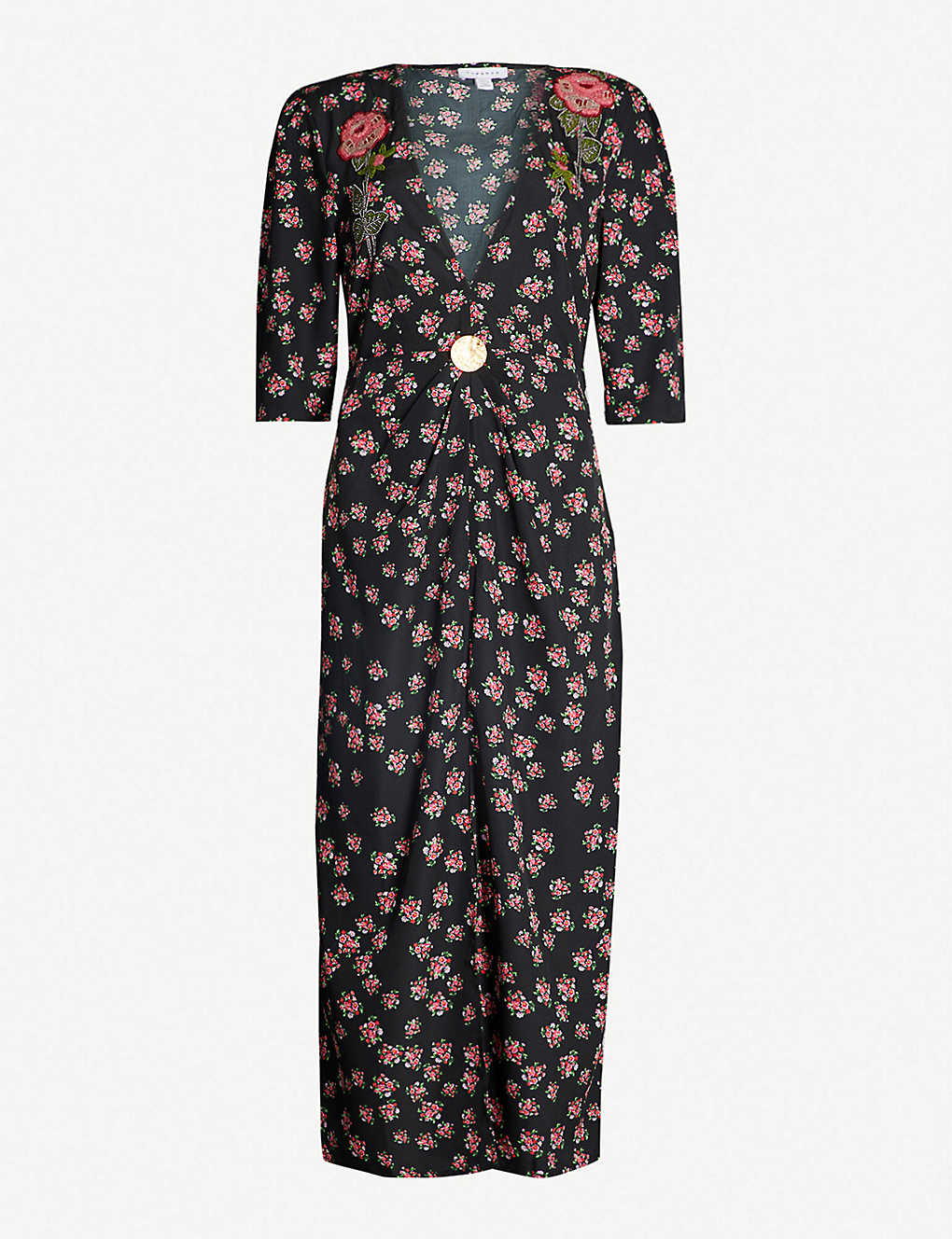new high cheap prices clearance prices Ditsy floral-print embellished crepe dress