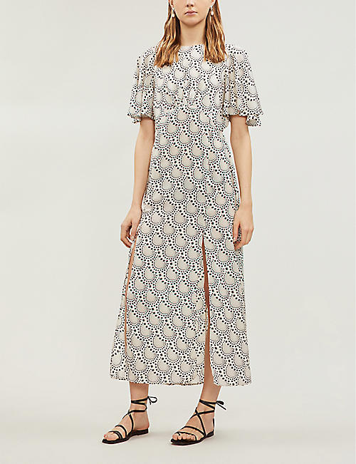 TOPSHOP Austin star print short sleeved satin midi dress