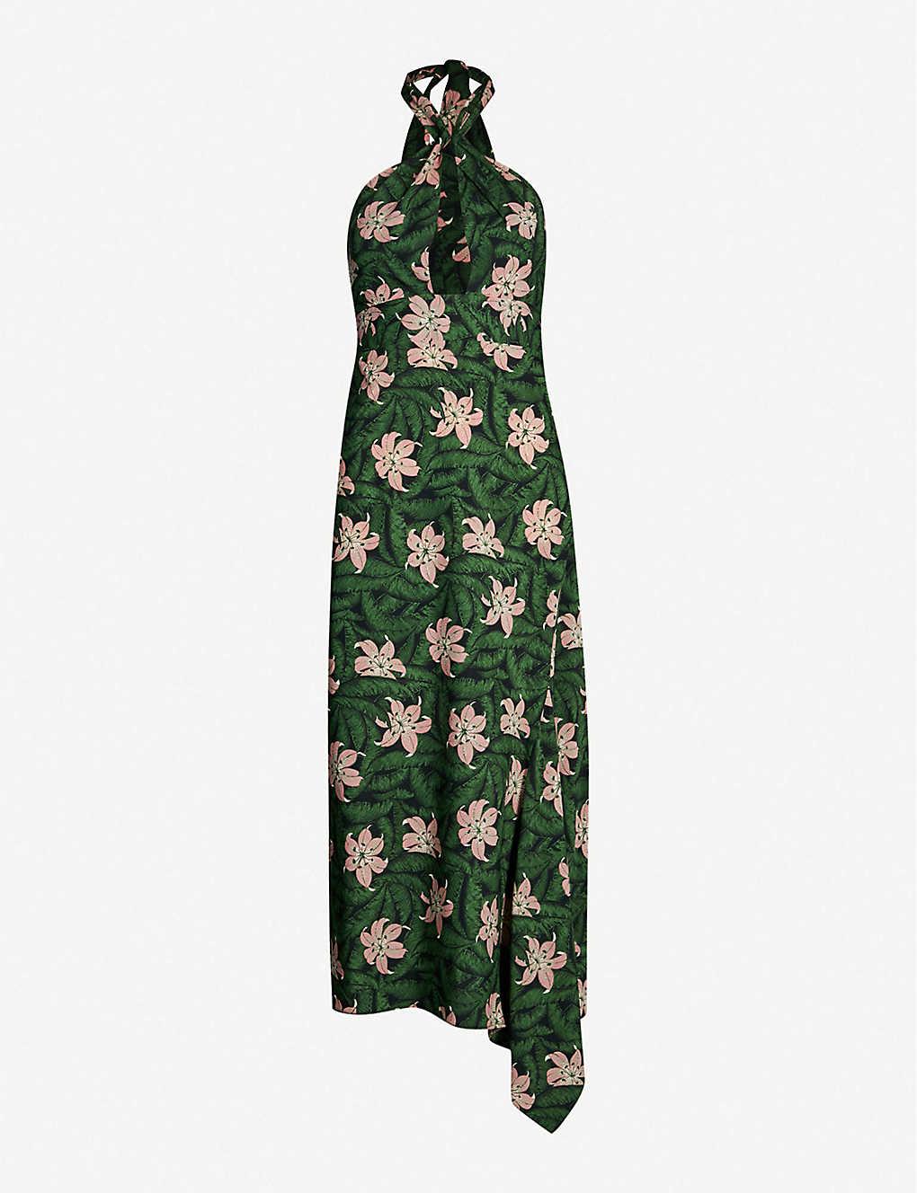 b9c5b874237a TOPSHOP - Halterneck floral-print crepe midi dress | Selfridges.com