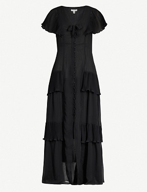 TOPSHOP Pleated crepe midi dress