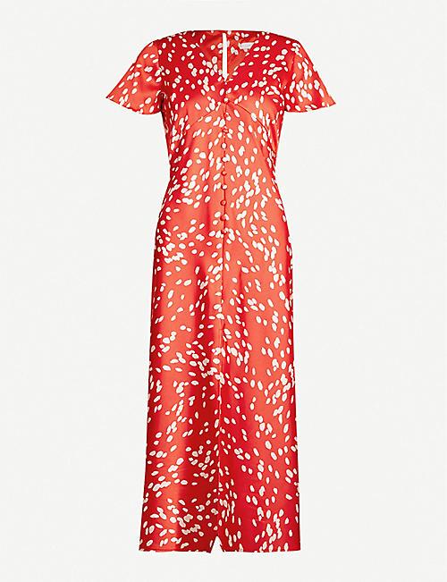 fcb08d7de6e TOPSHOP Dalmatian-print short-sleeved satin dress