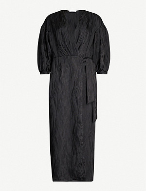 TOPSHOP Jacquard crepe midi wrap dress