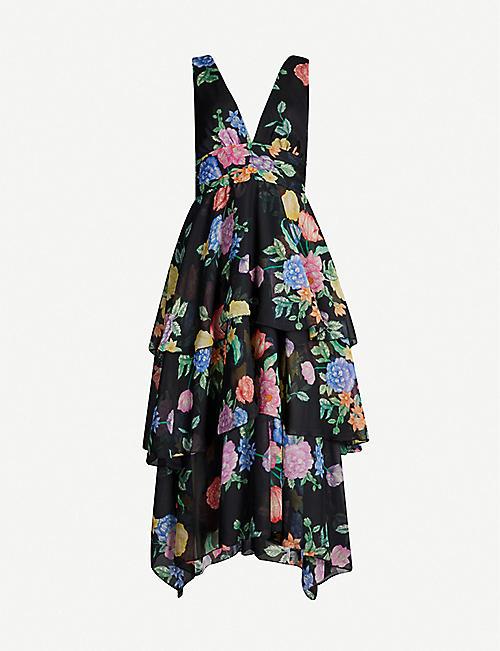 984dd11c039661 TOPSHOP Freida tiered floral-print crepe midi dress