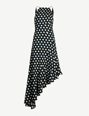 TOPSHOP Asymmetric graphic-print crepe dress