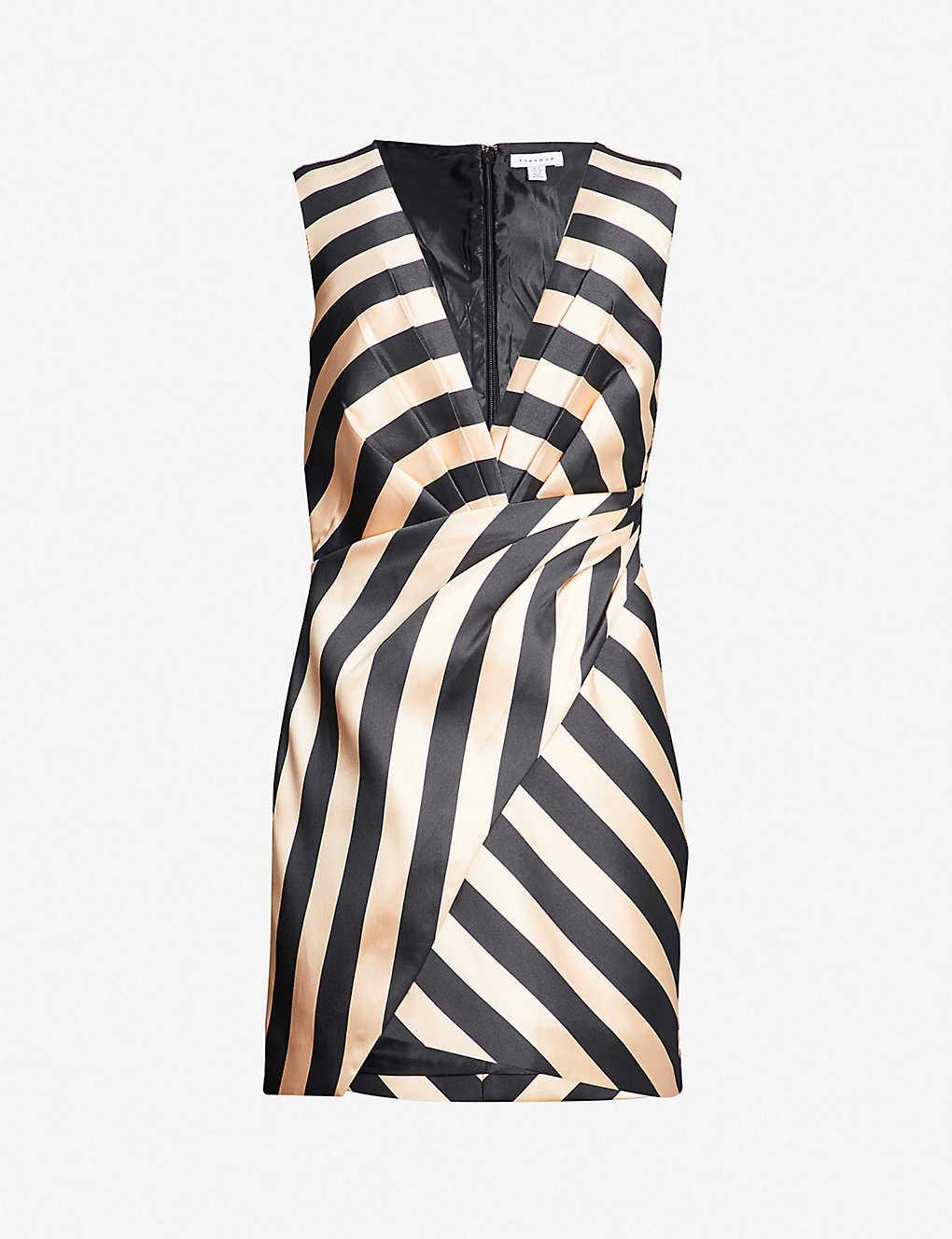 2cb9ada77c83 TOPSHOP - Stripe-print pleated satin mini dress   Selfridges.com