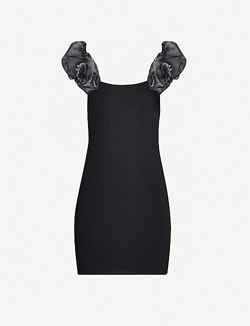 TOPSHOP Puff-sleeve jersey mini dress