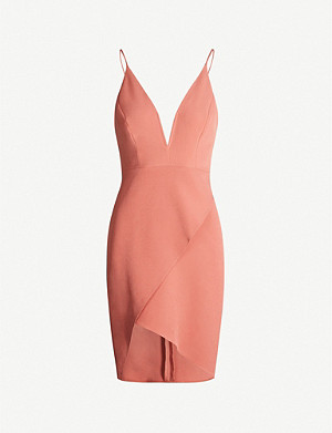 TOPSHOP V-neck asymmetric stretch-crepe midi dress