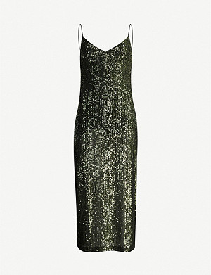 TOPSHOP V-neck sequinned midi dress
