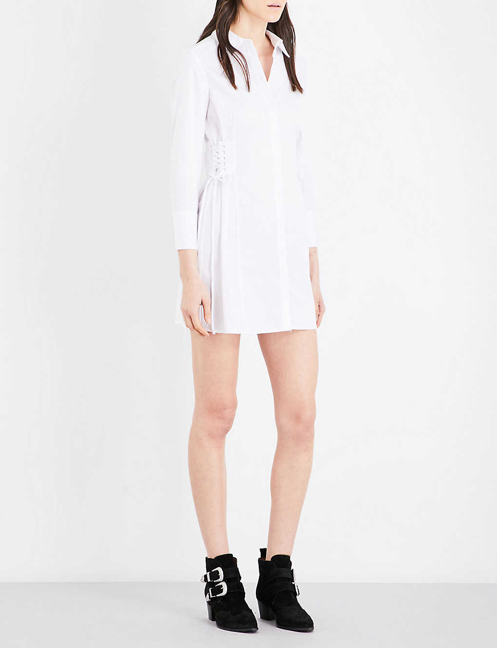 7d4ac132f12 TOPSHOP - Corset-sides cotton shirt dress