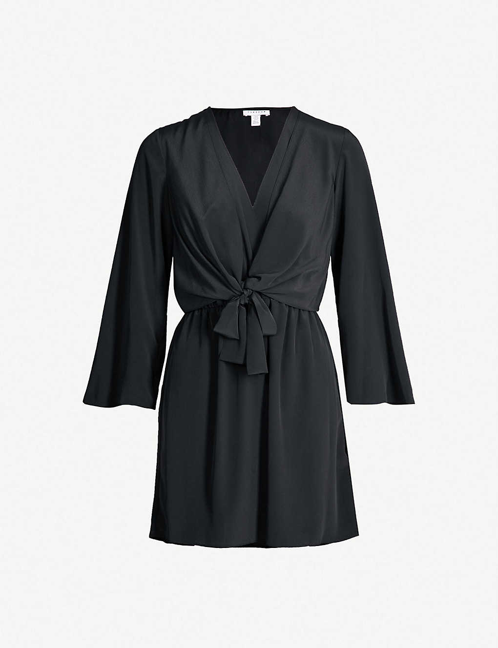 400d9d3099bd7 TOPSHOP - Tiffany knot-front wrap-over woven dress   Selfridges.com