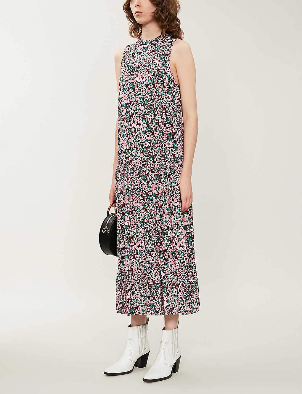 TOPSHOP Floral print sleeveless crepe