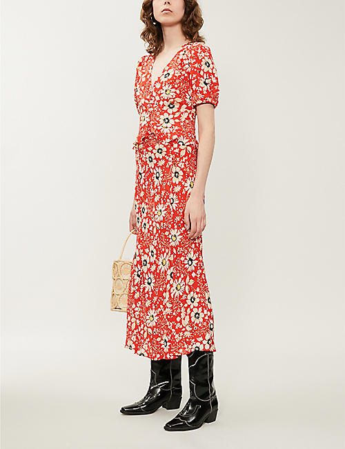 TOPSHOP Floral-print frilled-trims crepe midi dress