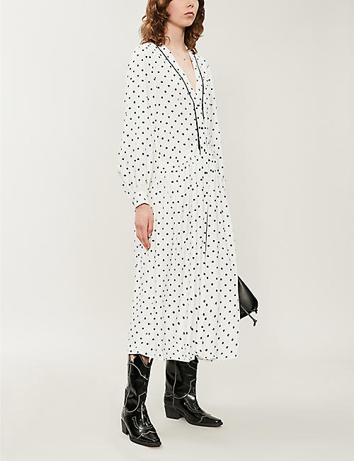 TOPSHOP Polka dot V-neck crepe de chine midi dress