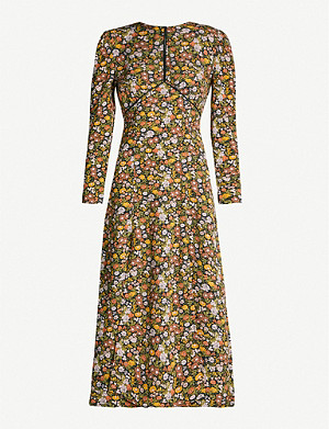 TOPSHOP Satin-trim floral-print crepe midi dress